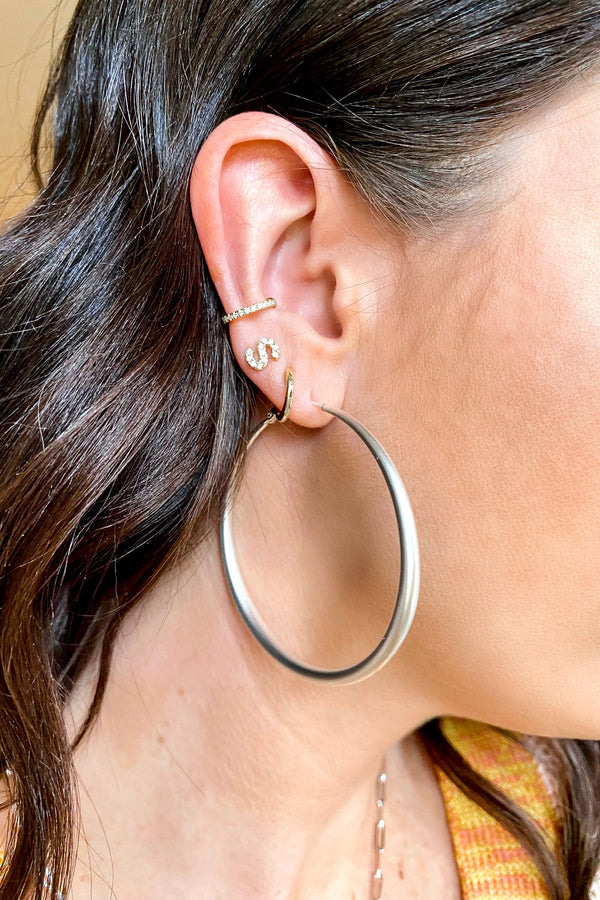 Silver Ottava Matte Hoop Earrings - Madison and Mallory
