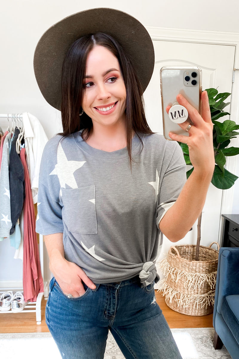 Blue Gray / S Wish I May Star Pocket Top - Madison and Mallory