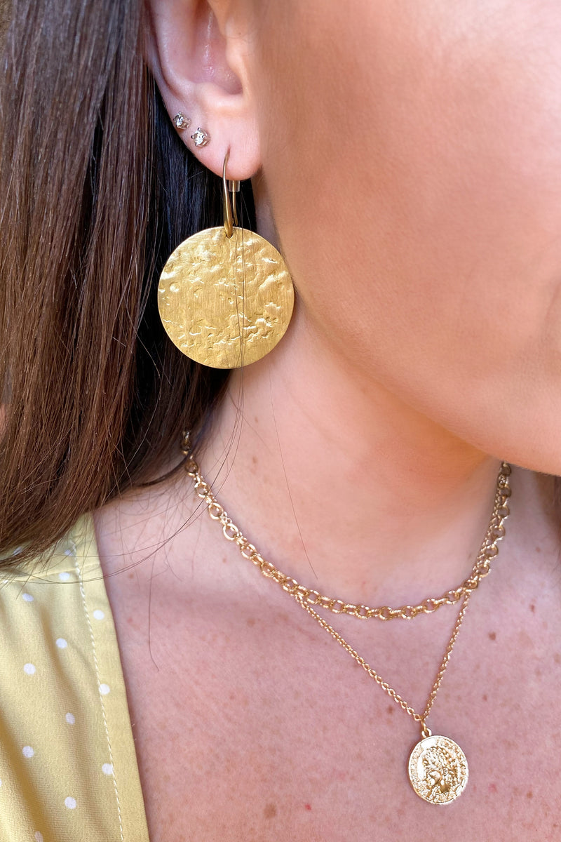 Gold Ceremonial Disc Drop Earrings - Madison and Mallory