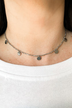 Silver Final Countdown Disc Coin Choker Necklace - Madison and Mallory