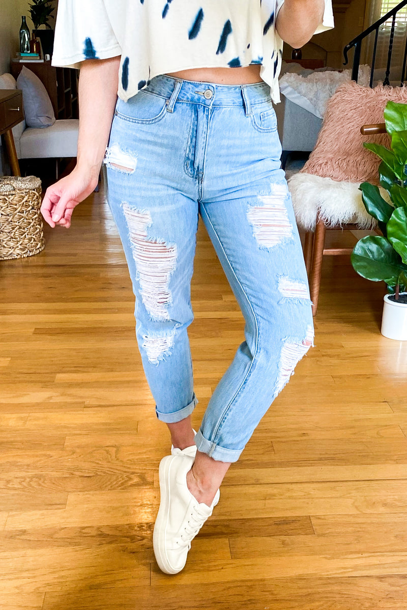 Kick it Back Distressed Boyfriend Jeans - Madison and Mallory