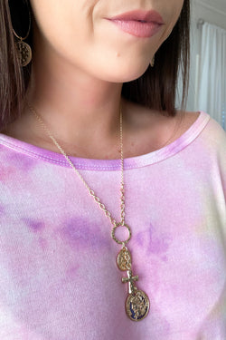 Gold Over the Horizon Coin and Cross Charm Necklace - Madison and Mallory