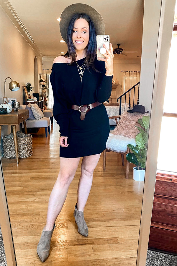 Jillian Boat Neck Relaxed Sweater Dress - Madison and Mallory