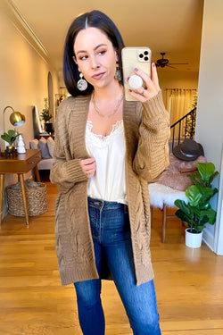 Mocha / SM Rovena Cable Knit Cardigan - Madison and Mallory
