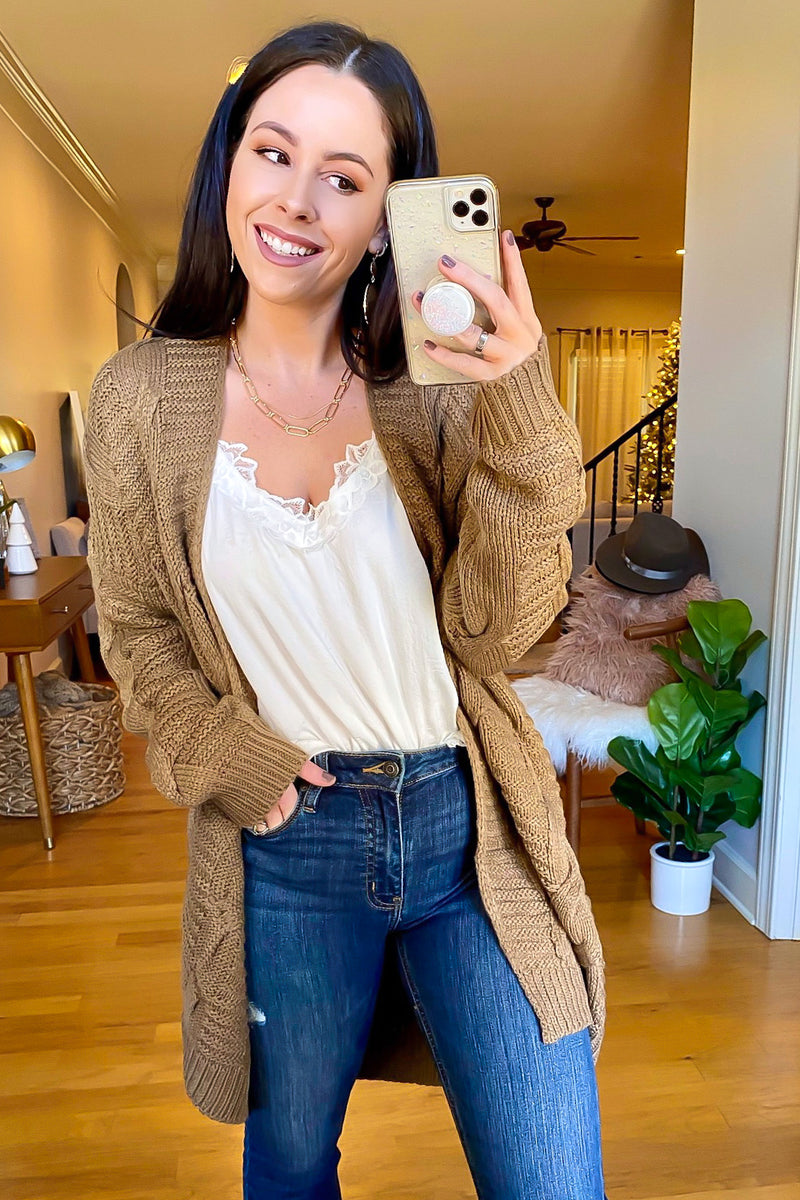 Rovena Cable Knit Cardigan - Madison and Mallory
