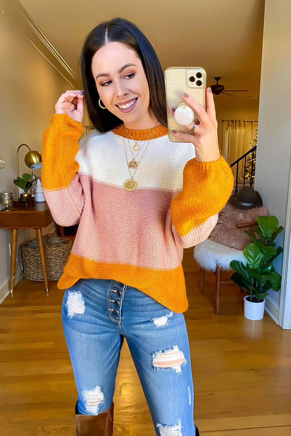 S / Orange Multi Talking Cozy Color Block Knit Sweater - Madison and Mallory