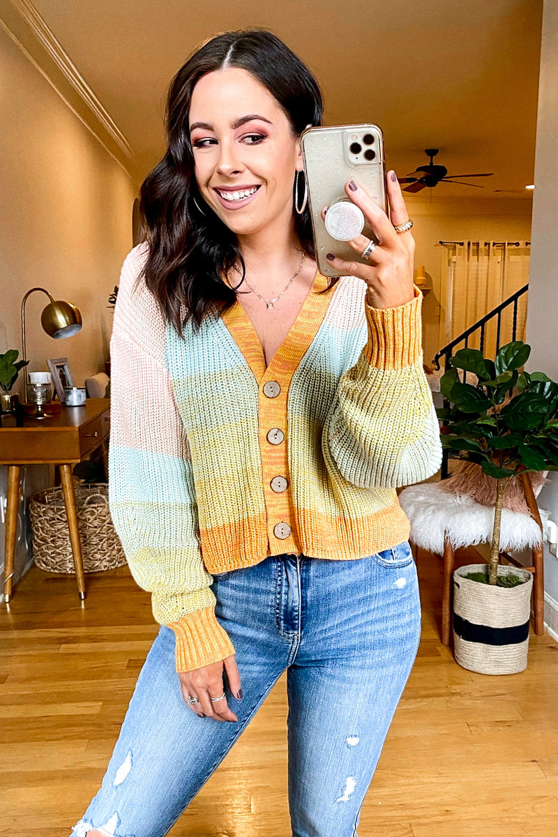 Sweet on Me Button Down Multi Color Cardigan - Madison and Mallory