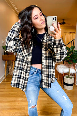 S / Beige Better Than Basic Plaid Shacket | CURVE - Madison and Mallory