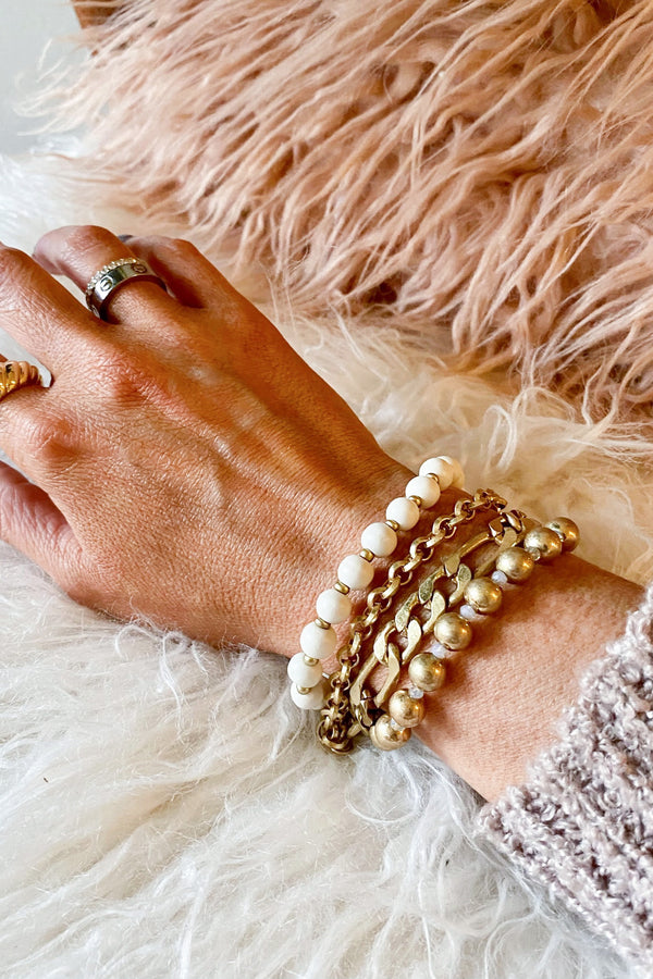 Edingfield Chain and Beaded Bracelet Stack - Madison and Mallory