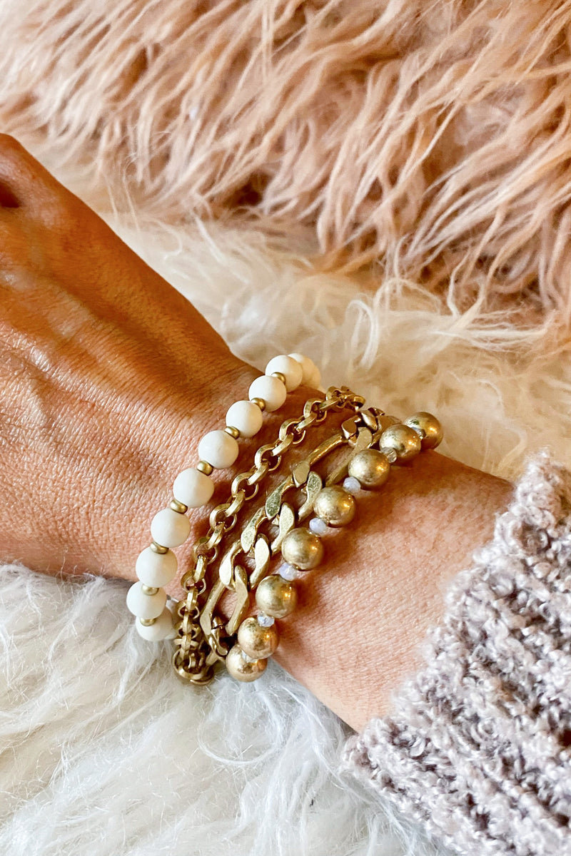 Ivory Edingfield Chain and Beaded Bracelet Stack - Madison and Mallory