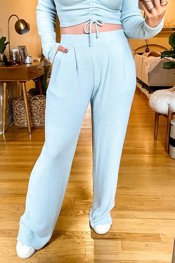 S / Light Blue Feel Good Pleated Front Knit Pants - Madison and Mallory