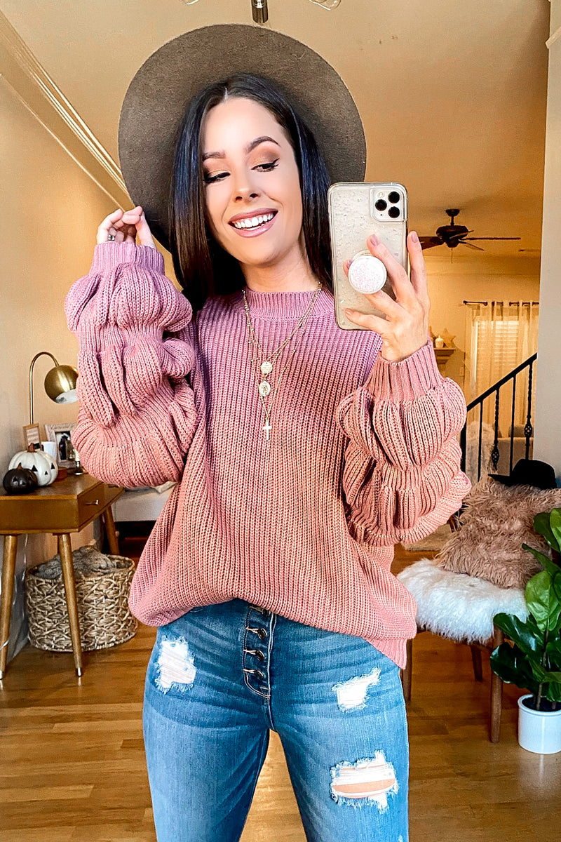 Mauve / S Kendyl Bubble Sleeve Sweater - Madison and Mallory
