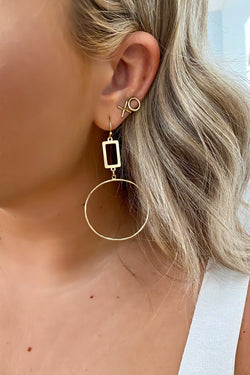 Gold Round Up Rectangle Hoop Drop Earrings - Madison and Mallory