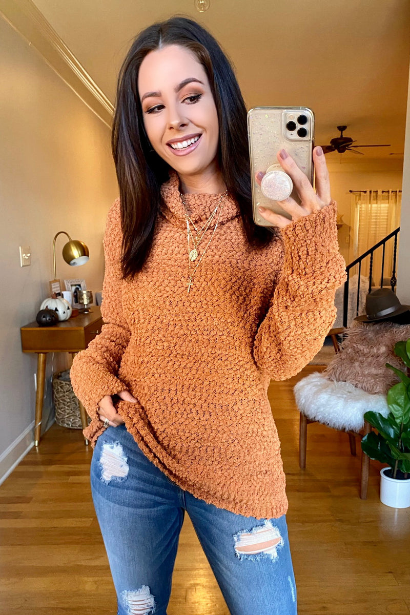 Butterscotch / S Nash Popcorn Knit Turtleneck Sweater - Madison and Mallory