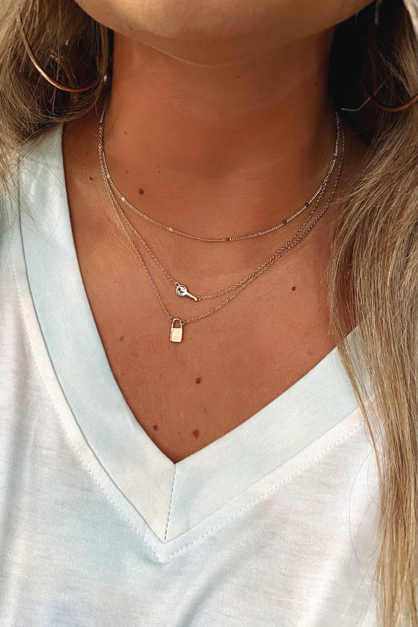 Gold Style is Key Lock Layered Necklace - Madison and Mallory