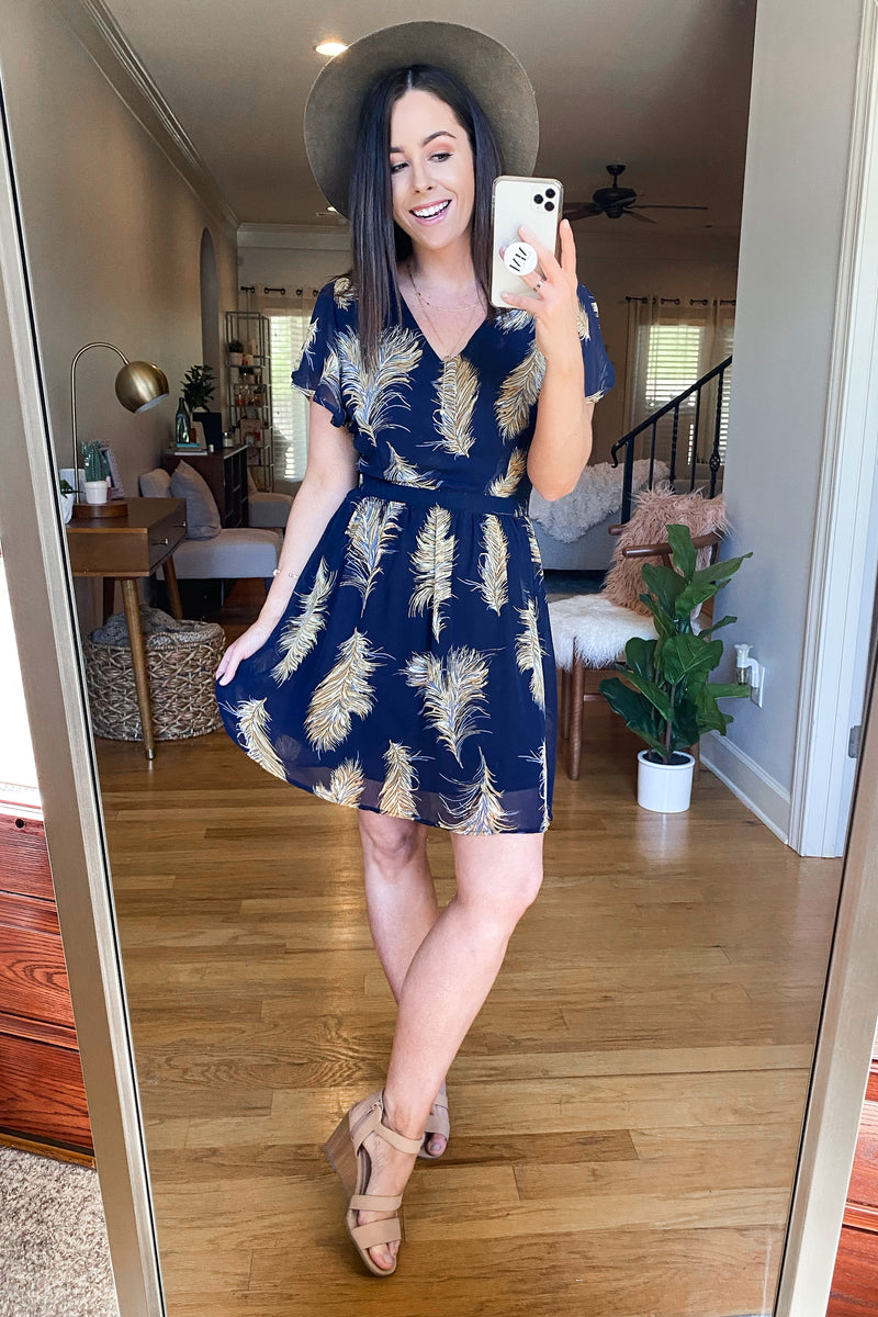 Feather Together Printed Flutter Sleeve Dress - Navy - Madison and Mallory