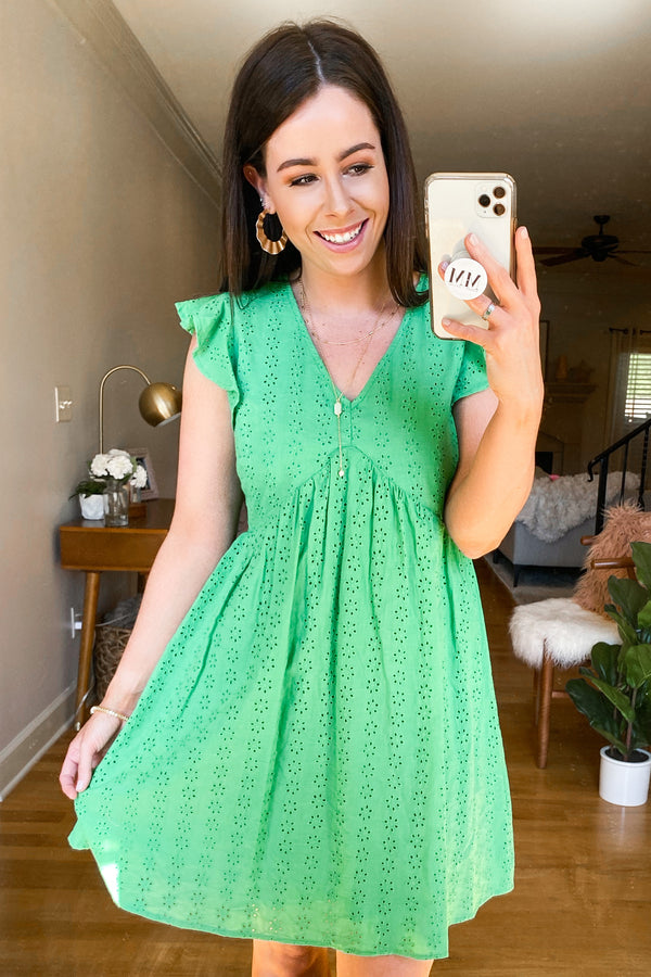 Leyla V-Neck Eyelet Dress - Kelly Green - Madison and Mallory