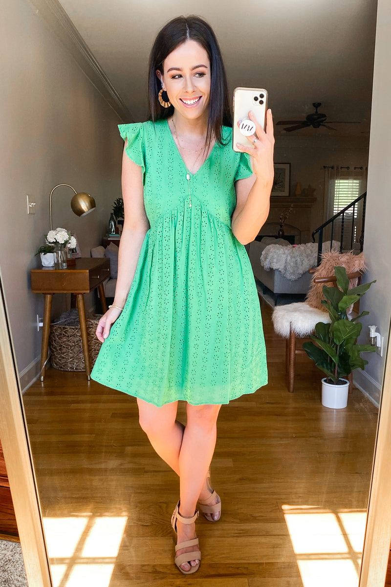 Leyla V-Neck Eyelet Dress - Kelly Green - FINAL SALE - Madison and Mallory