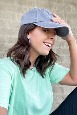 Hatteras Pigment Washed Baseball Hat - Gray - Madison and Mallory