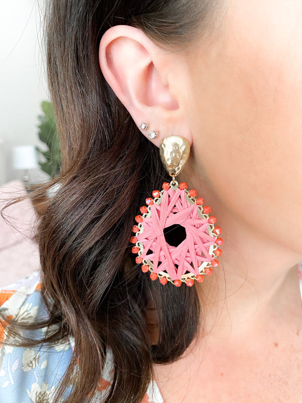 Drifting Along Beaded Statement Earrings - Coral - Madison and Mallory