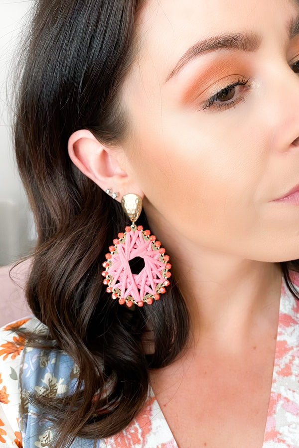 Coral Drifting Along Beaded Statement Earrings - Coral - Madison and Mallory