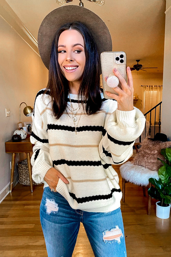 Ivory / S East Village Bubble Sleeve Striped Sweater - Madison and Mallory