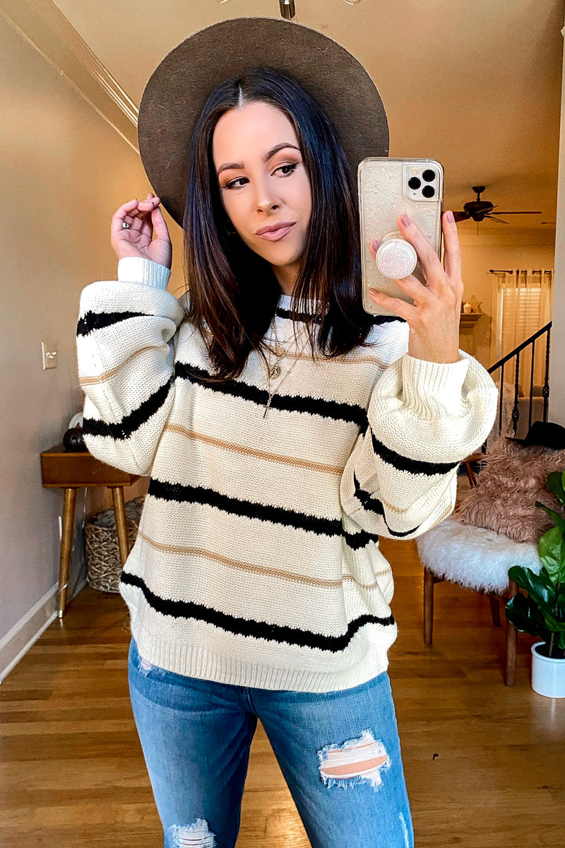 East Village Bubble Sleeve Striped Sweater - FINAL SALE - Madison and Mallory
