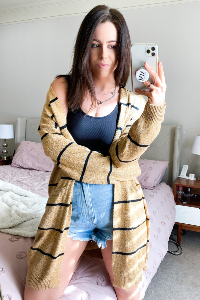 Kace Striped Knit Cardigan - Mustard - Madison and Mallory
