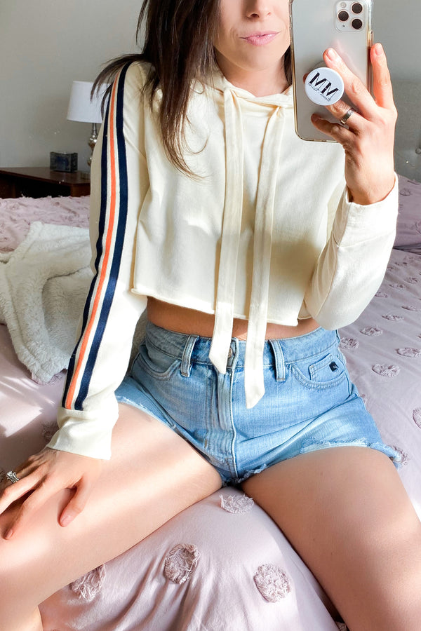 Yellow Cream / S Drop a Mix Cropped Stripe Hoodie - Yellow Cream - Madison and Mallory