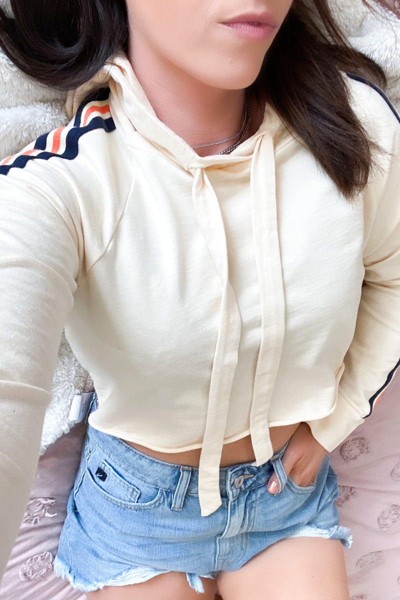 Drop a Mix Cropped Stripe Hoodie - Yellow Cream - FINAL SALE - Madison and Mallory