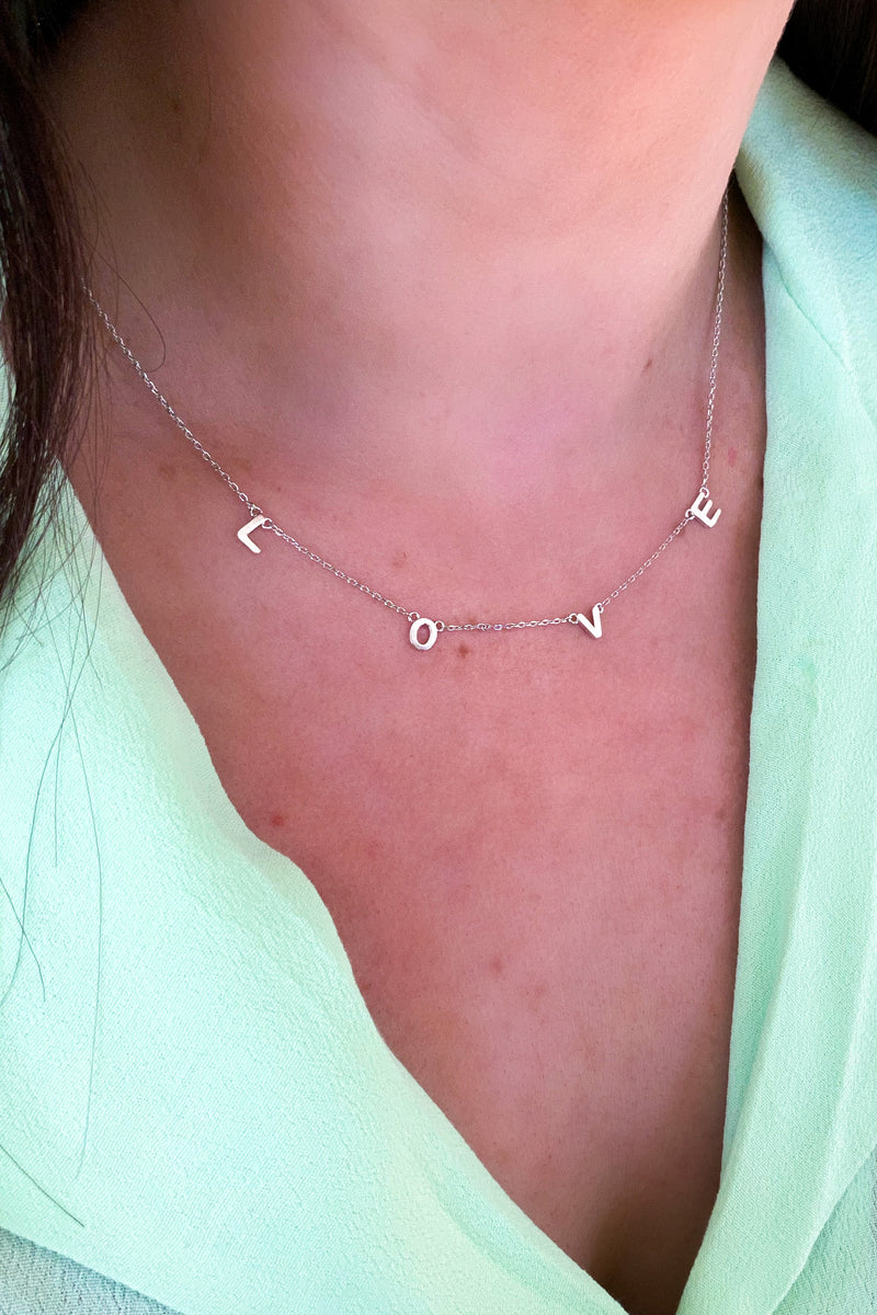 Silver All About Love Dainty Necklace - Madison and Mallory