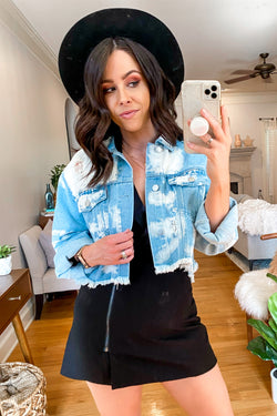 S / Denim Hyped Up Bleach Distressed Denim Jacket - Madison and Mallory