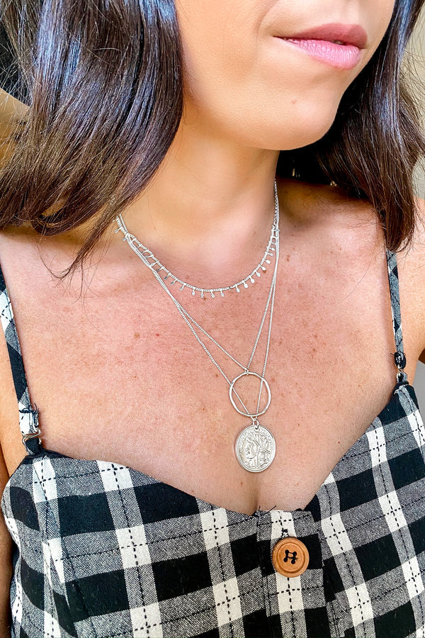 Silver Eviana Layered Coin Necklace - Madison and Mallory