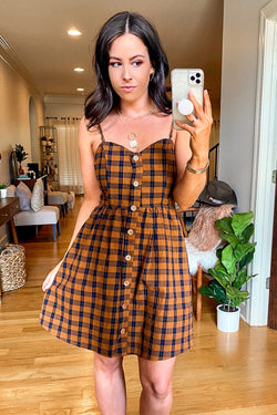 Camel / S Quickstep Gingham Plaid Button Dress - Madison and Mallory