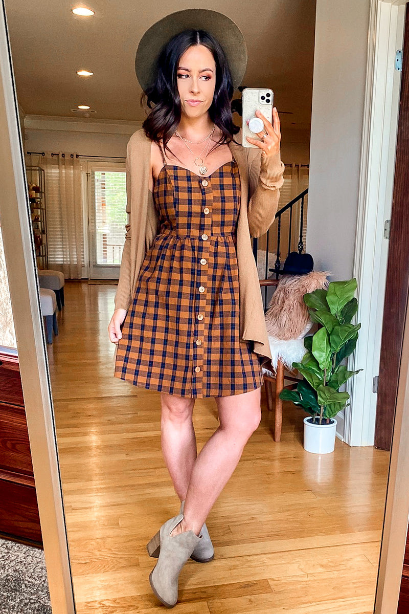 Quickstep Gingham Plaid Button Dress - FINAL SALE - Madison and Mallory