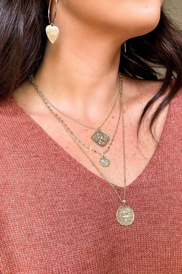Gold Baila Layered Coin Necklace - Madison and Mallory