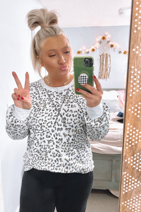 S / Gray Clary Animal Print Sweatshirt - Madison and Mallory