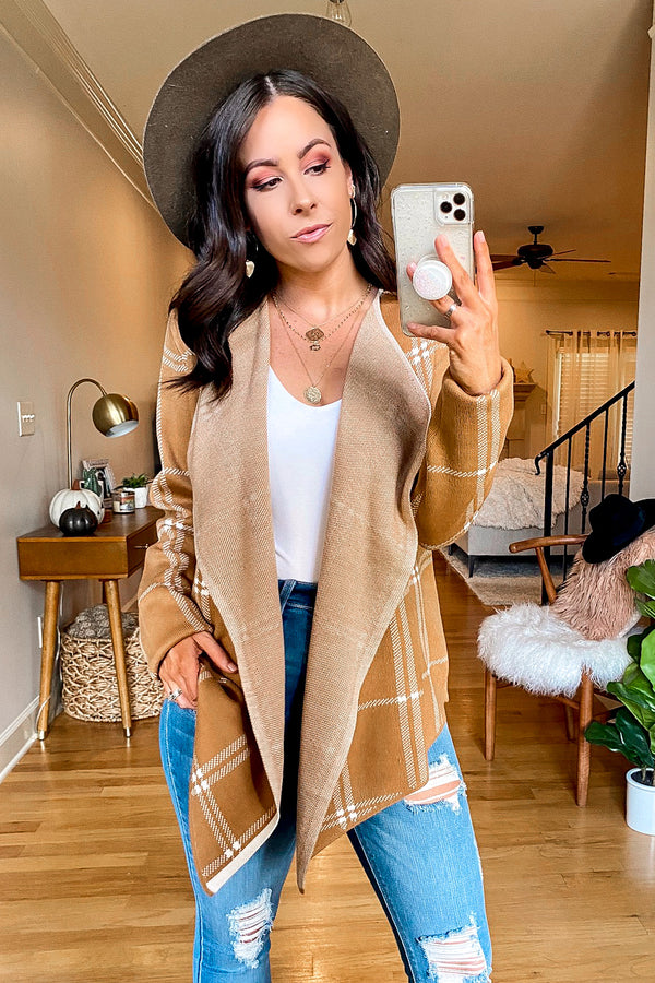 SM / Sand In Favor Plaid Draped Cardigan - Madison and Mallory