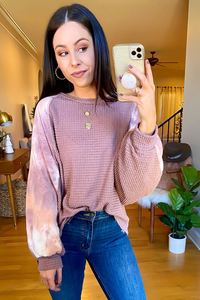 S / Mauve Malta Marbled Contrast Waffle Knit Top - Madison and Mallory