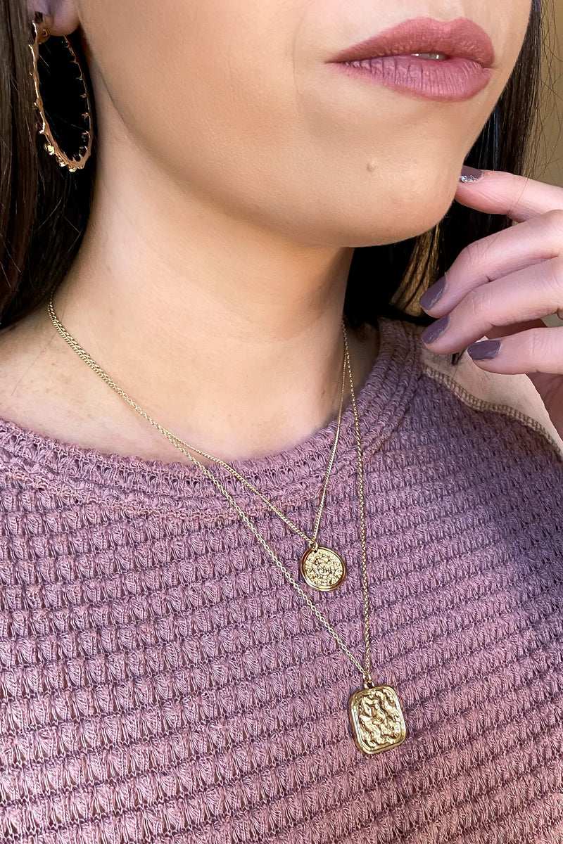 Gold Providence Coin Pendant Layered Necklace - Madison and Mallory