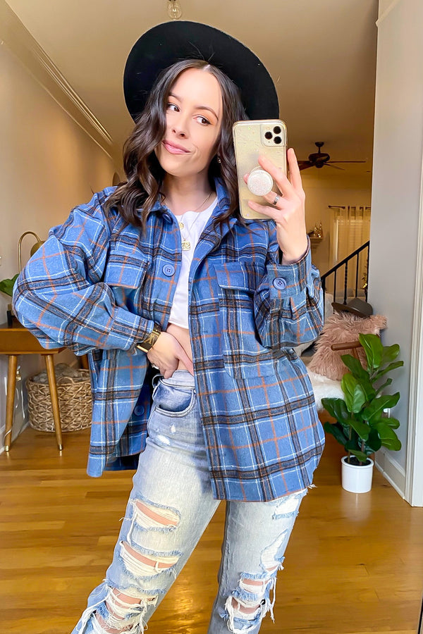 Blue / S Popular Opinion Button Down Plaid Shacket - Madison and Mallory