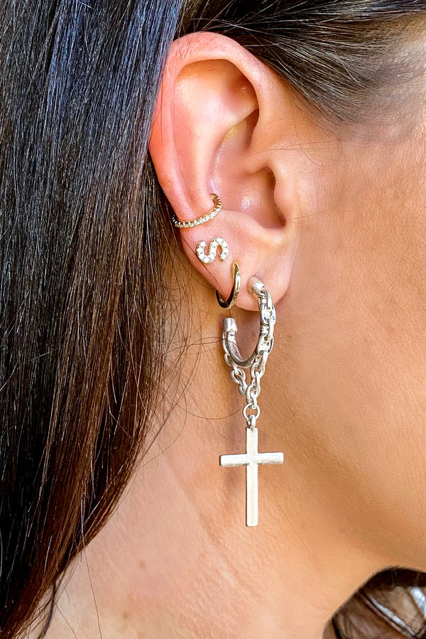 Silver Madelon Cross and Chain Hoop Earrings - Madison and Mallory