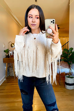 S / Cream Theory Fringe Detail Chenille Sweater - Madison and Mallory