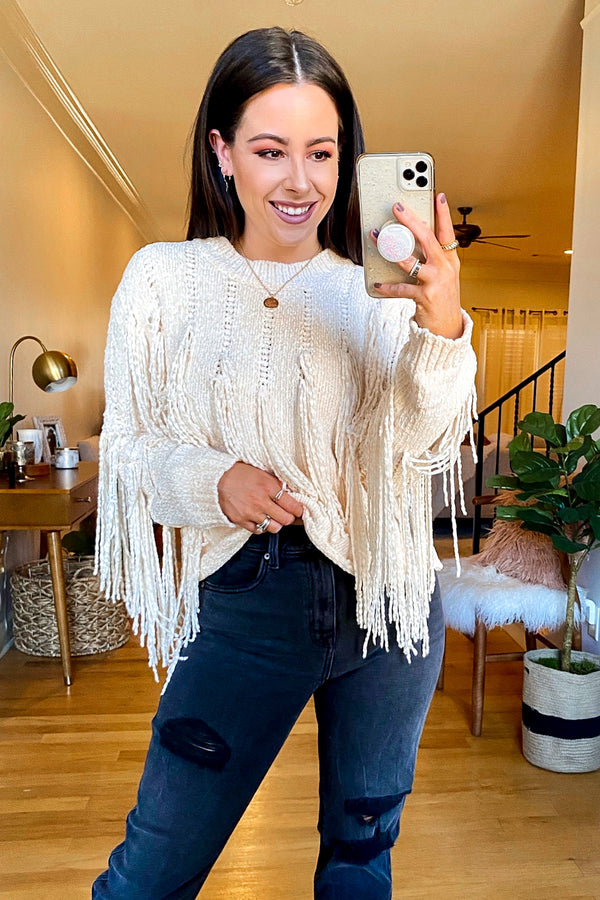 Theory Fringe Detail Chenille Sweater - Madison and Mallory