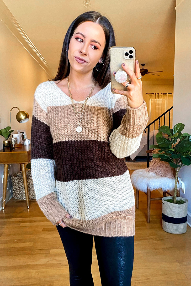 S / Beige Mylan Color Block Relaxed Fit Sweater - Madison and Mallory