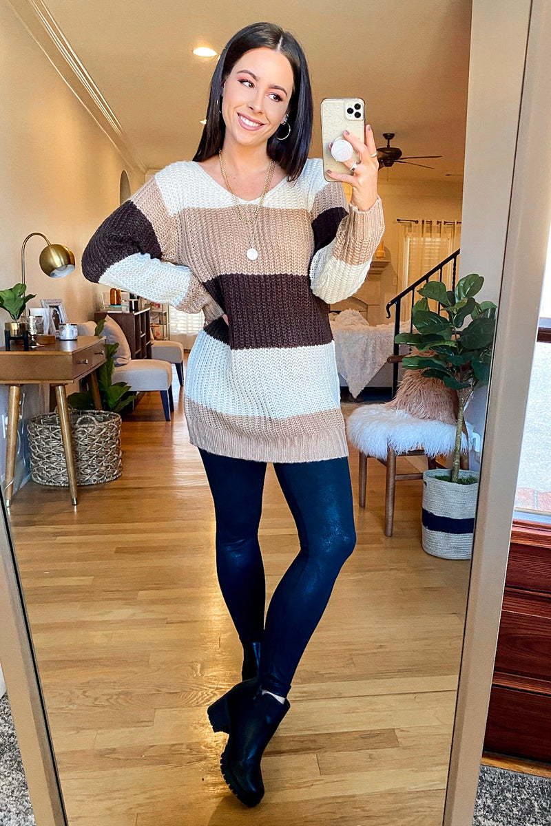 Mylan Color Block Relaxed Fit Sweater - Madison and Mallory