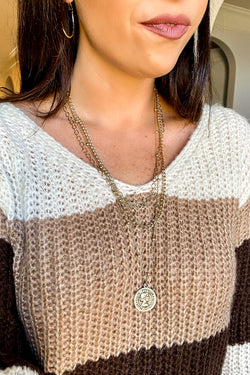 Gold Totally Dazzled Chain and Coin Layered Necklace - Madison and Mallory