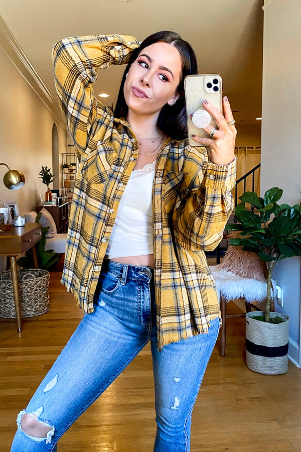 S / Mustard Brown Wake Up Call Plaid Shacket | CURVE - Madison and Mallory