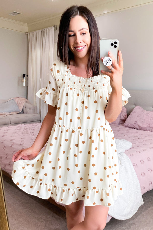 Vanilla / S First Thought Polka Dot Babydoll Dress - Vanilla - Madison and Mallory