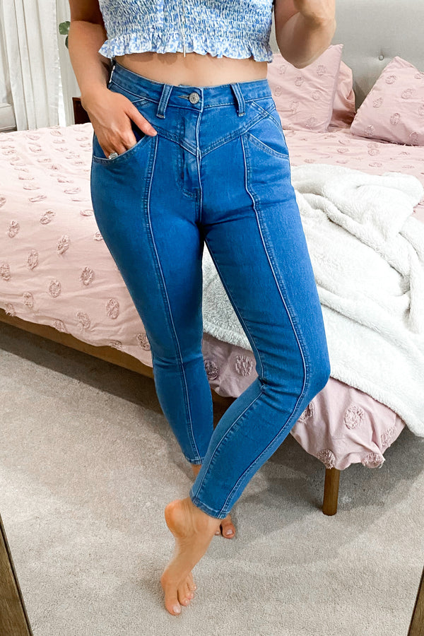 In a Zip Stitch Detail Skinny Jeans - Madison and Mallory